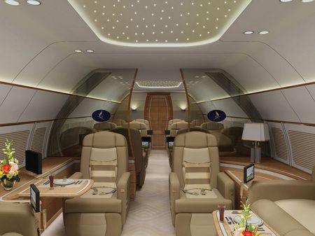 Sauna, sala de gimnastica si garaj pentru autoturismele exclusiviste. Cum arata avioanele de sute de milioane de dolari