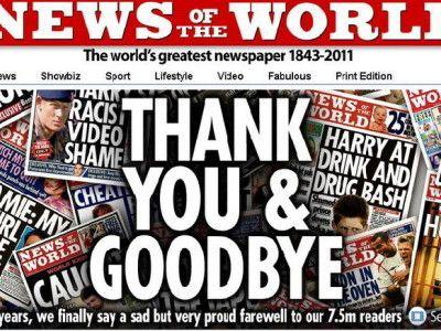 A murit de rusine : tabloidul News of the World s-a inchis dupa 168 de ani de aparitie. Murdoch ar putea vinde intreaga divizie de ziare