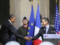 """Obama i-a multumit lui Sarkozy pentru """"prietenia sa"""" in decursul unei """"perioade dificile"""""""