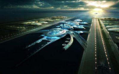 Cel mai futurist aeroport al lumii, o constructie  extraterestra  pe apa. FOTO