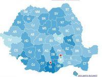Alegeri parlamentare 2012. Prezenta la vot la inchiderea urnelor, ora 21.00, a fost de 41,72%. Harta interactiva