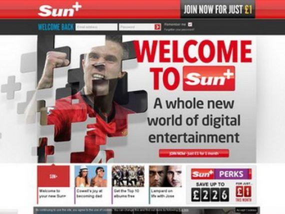 Publicatia britanica The Sun a introdus o taxa  de 2 lire pentru continutul online