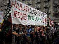 A opta zi de proteste fata de proiectul minier de la Rosia Montana. Peste 7.000 de manifestanti au blocat centrul Bucurestiului