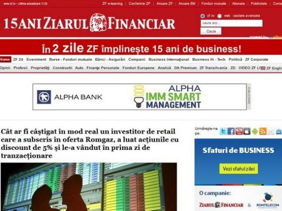 Ziarul Financiar sarbatoreste 15 ani de business pentru Romania