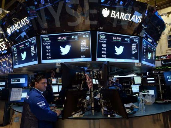 Actiunile Twitter au inregistrat cea mai mare scadere de la listarea companiei pe bursa