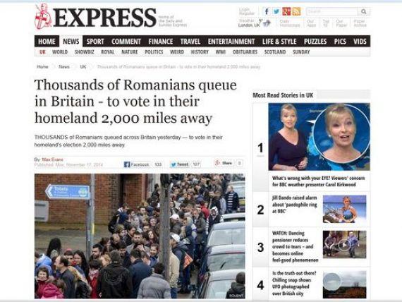 Presa de la Londra probeaza  numarul urias  de imigranti din Marea Britanie  cu fotografii cu  legiunile  de romani stand la cozi sa voteze:  Pacat ca nu sunt alegatori britanici la alegerile britanice