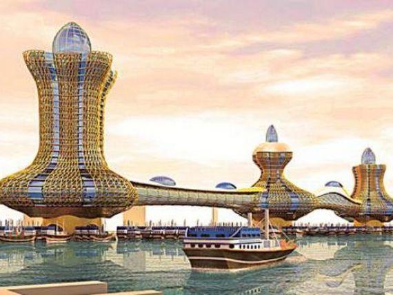 Dubaiul uimeste din nou, de data aceasta cu  Orasul lui Aladdin : 6 turnuri legate prin poduri prevazute cu trotuare rulante pe post de carpete magice