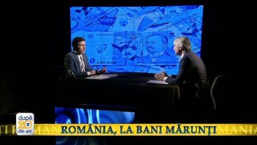 Romania, la bani marunti. Ministrul Eugen Teodorovici a facut radiografia financiara a tarii, la  Dupa 20 de ani . Cu cat scad TVA si cota unica si cum va evolua economia