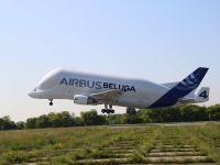 Airbus Beluga, unul dintre cele mai mari avioane din lume, a ajuns pentru prima data in Romania