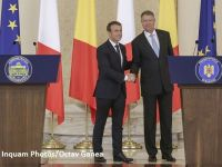 """Președintele Franței, în vizită la București. Muncitorii detaşaţi și reformarea Spațiului Schengen, principalele subiecte de discuție. Iohannis: """"România îşi doreşte să devină un membru re-fondator al UE"""""""