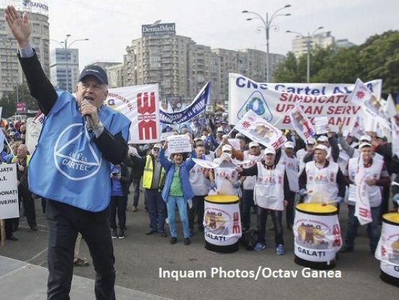 Sindicaliștii au ieșit în stradă. Hossu, Cartel ALFA: Politica guvernamentală de păstrare a salariului minim la un nivel scăzut va avea ca efect creşterea revoltelor sociale