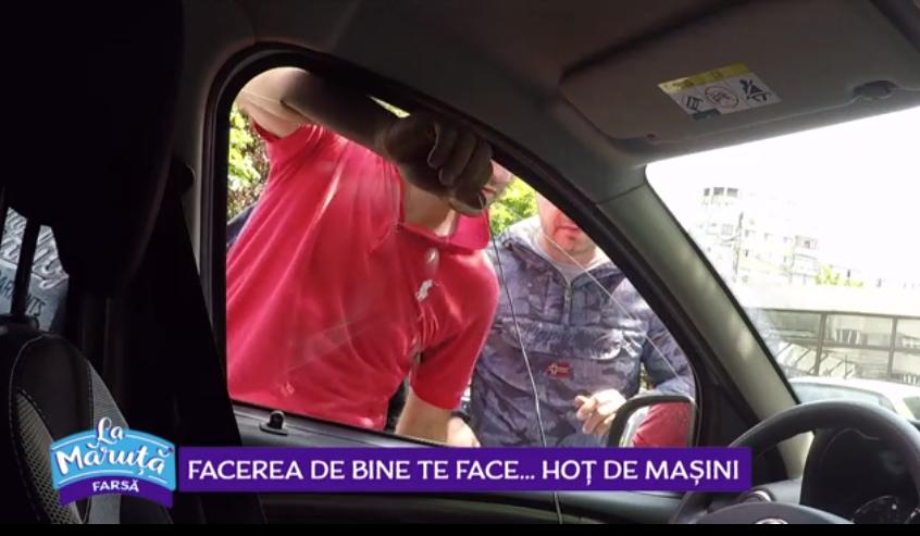 VIDEO S-au transformat din buni samariteni în hoț de mașini. Farsa a la Măruță a provocat emoții