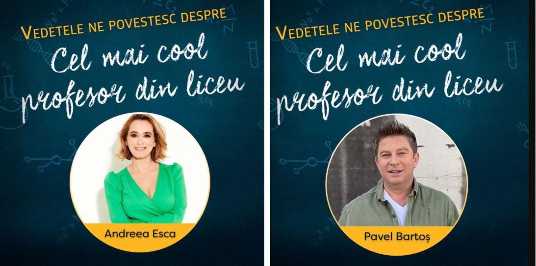 """Vedetele spun """"Mulțumesc, Profu'""""! Ce profesor a fost Profu' pentru Andreea Esca, Pavel Bartoș și alte mari vedete"""