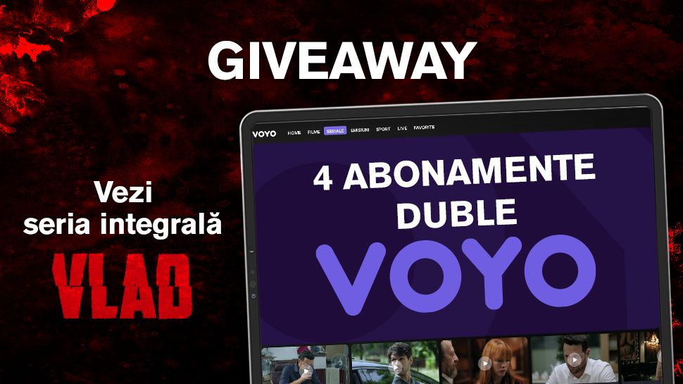 În luna iunie câștigi săptămânal 1 din cele 4 abonamente duble la VOYO cu care să poți vedea integral serialul VLAD