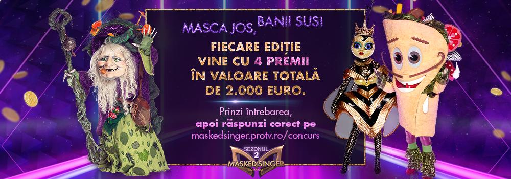 CONCURS Masked Singer Romania pune la bătaie, în fiecare ediție, 4 premii în valoare de 2.000 de euro