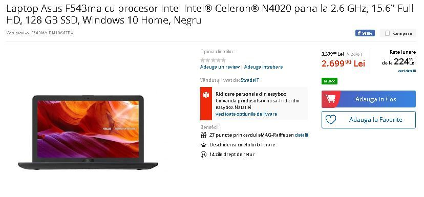 Laptopuri ASUS reduse cu peste 30%! Cele mai noi modele sunt cu 700 de lei mai ieftine! Au inceput reducerile la eMAG